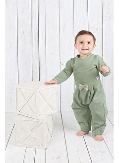 Nila Kids Koyu Yeşil Rengi Fırfır Detaylı Organik Kız Bebek Tulum Elbise NK01018KY (6 AY - 3 YAş)